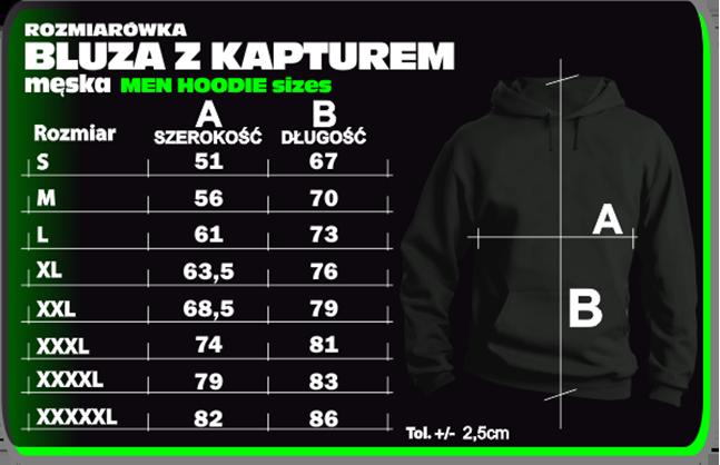 Rozmiarówka bluzy - Tabela rozmiarów BLUZ - Sweatshirt Hooded