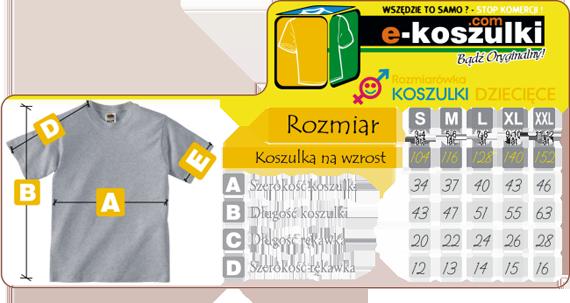 Koszulki dziecięce - Tabela rozmiarów - Koszulka dla dziecka