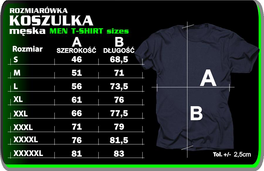 Rozmiarówka męska - Tabela rozmiarów KOSZULKI MĘSKIE